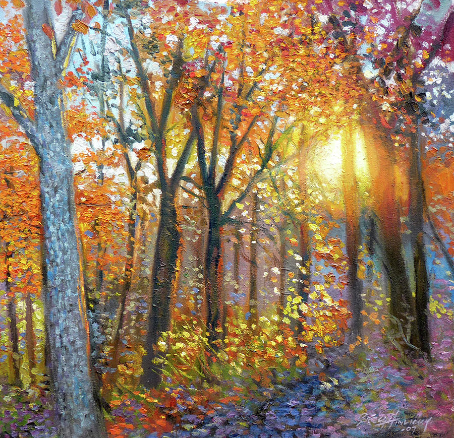 Landscape Painting - The Yard  Autumn by Gregg Hinlicky