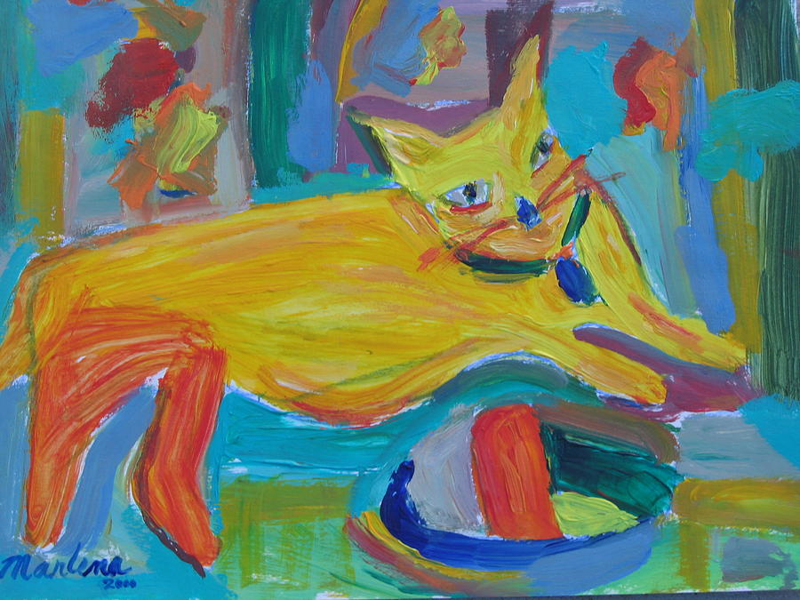 Cat Painting - The Yellow Cat by Marlene Robbins