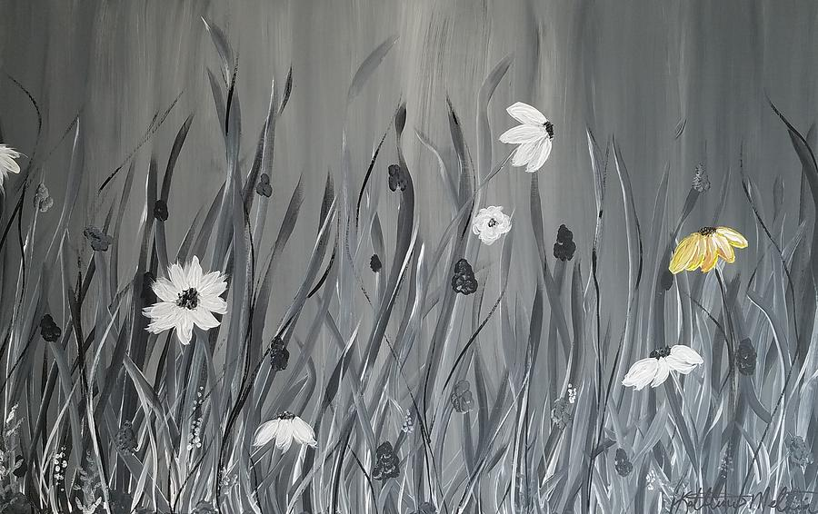 Acrylic Painting - The Yellow Flower by Kathlene Melvin