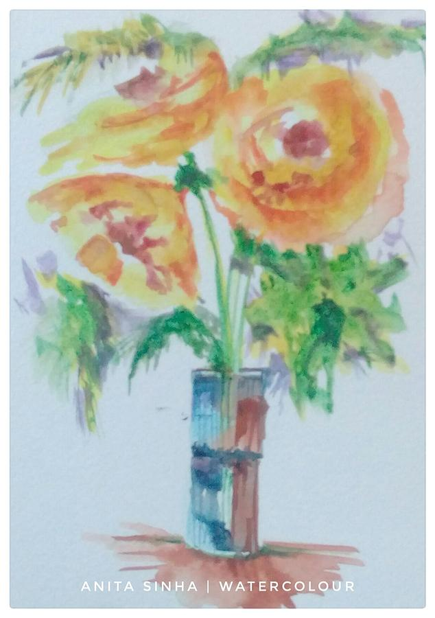 The Yellow Flowers In A Vase Painting By Anita Sinha