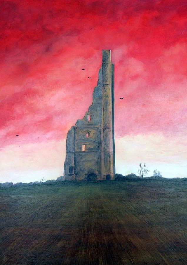Red Sky Painting - The Yellow Steeple by Martine Murphy