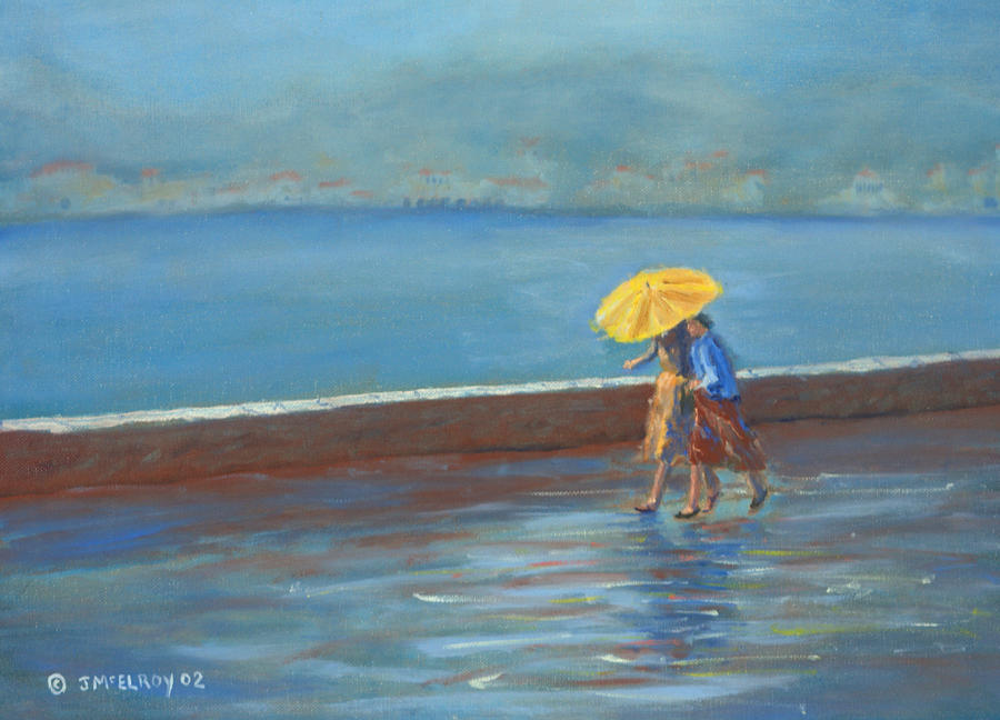 Rain Painting - The Yellow Umbrella by Jerry McElroy