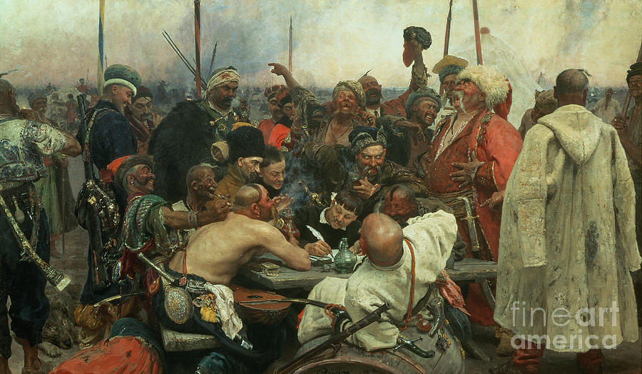 The Painting - The Zaporozhye Cossacks Writing A Letter To The Turkish Sultan by Ilya Efimovich Repin