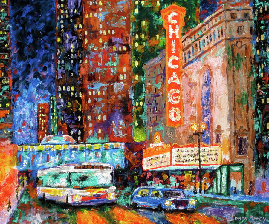 Chicago Theater Painting - Theater Night by J Loren Reedy