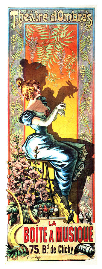 Theatre Dombres - Play Of Shadows - Vintage French Advertising Poster - La Boite A Musique Mixed Media