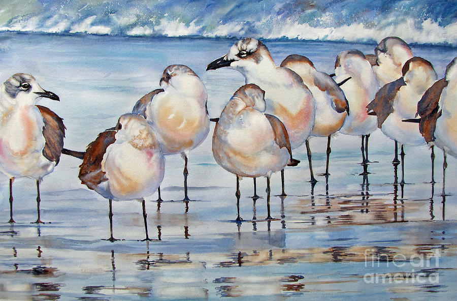 Sea Gulls Painting - Then-their-eyes-met by Nancy Newman