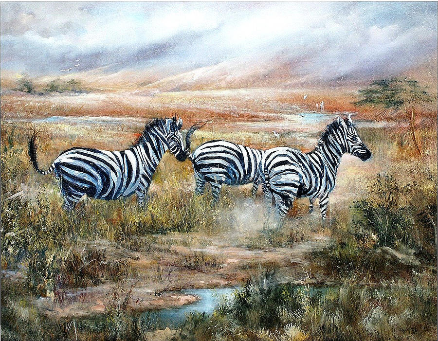 Zebras Painting - Then There Were Three by Sally Seago