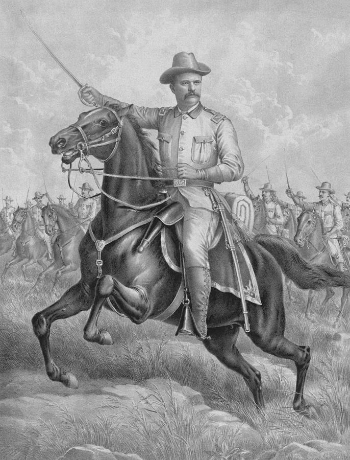 Theodore Roosevelt Drawing - Theodore Roosevelt On Horseback  by War Is Hell Store