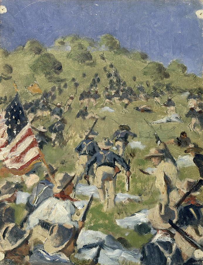 Theodore Painting - Theodore Roosevelt taking the Saint Juan Heights by Vasili Vasilievich Vereshchagin
