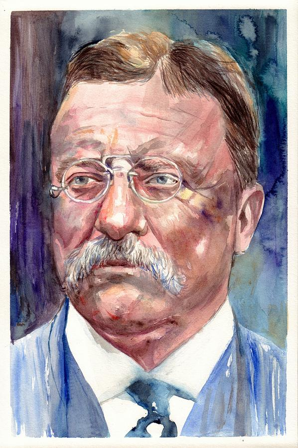 Theodore Roosevelt Painting - Theodore Roosevelt Watercolor Portrait by Suzann Sines