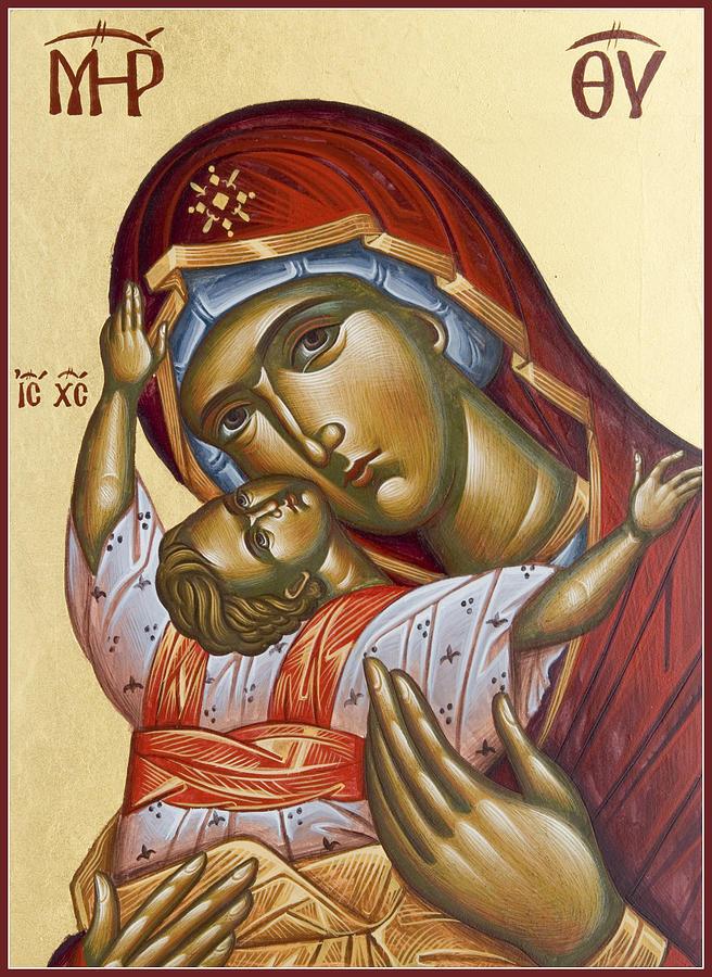 Icon Painting - Theotokos Kardiotissa I by Julia Bridget Hayes
