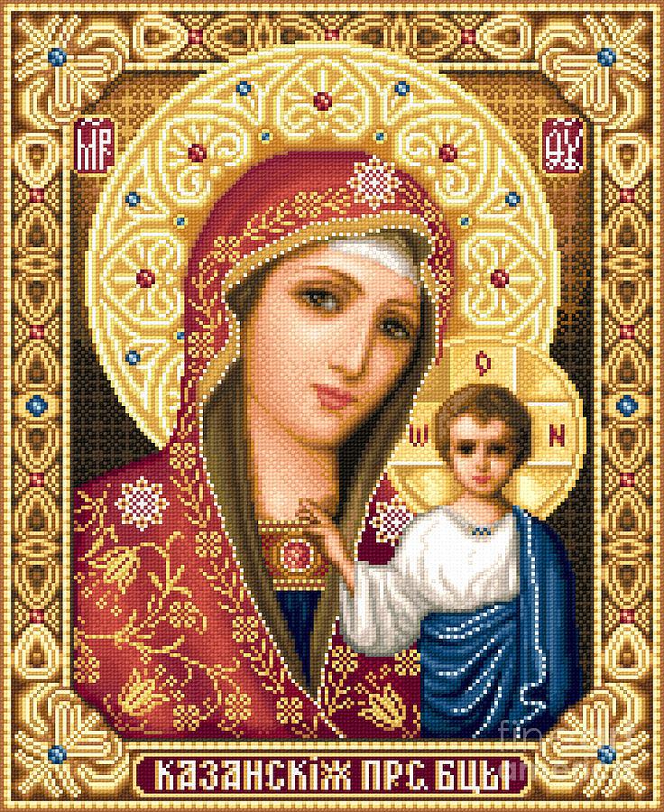 Theotokos Of Kazan Orthodox Icon Needlework Cross Stitch Gobelin Tapestry - Textile - Theotokos Of Kazan by Stoyanka Ivanova