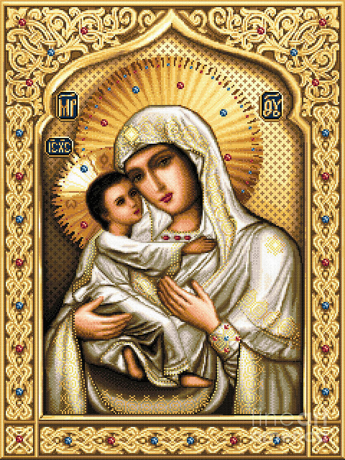 Theotokos Of Tenderness Tapestry - Textile by Stoyanka Ivanova