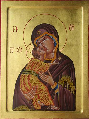 Byzantine Icon Painting - Theotokos With Christ by Biljana Vujaklija