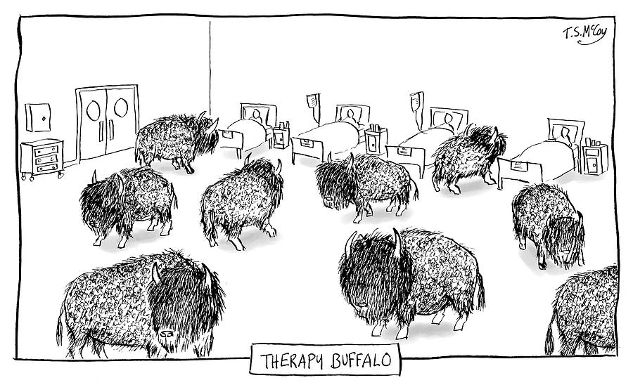 Therapy Buffalo Drawing by The Surreal McCoy