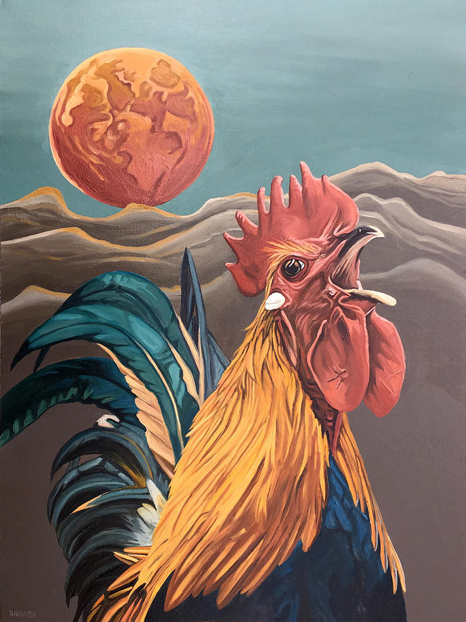 Rooster Painting - There Will Be A Great Rescue by Nathan Rhoads