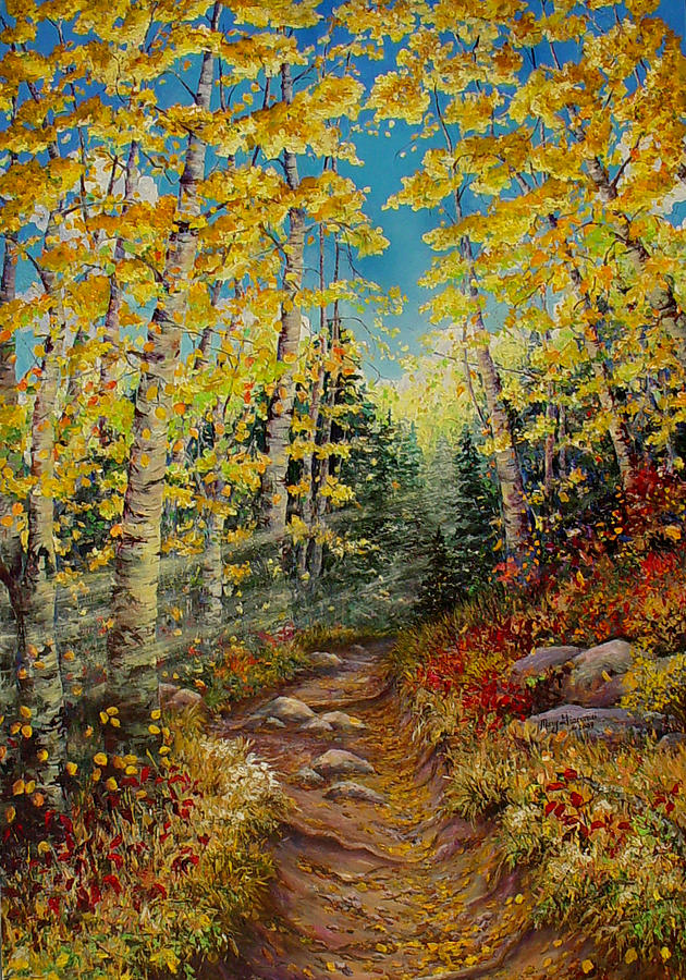 Aspens Painting - Theres  A Light Beyond These Woods by Mary Giacomini