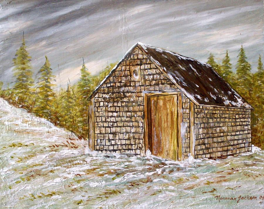 Woodshed Painting - Thewoodshed by Norman F Jackson