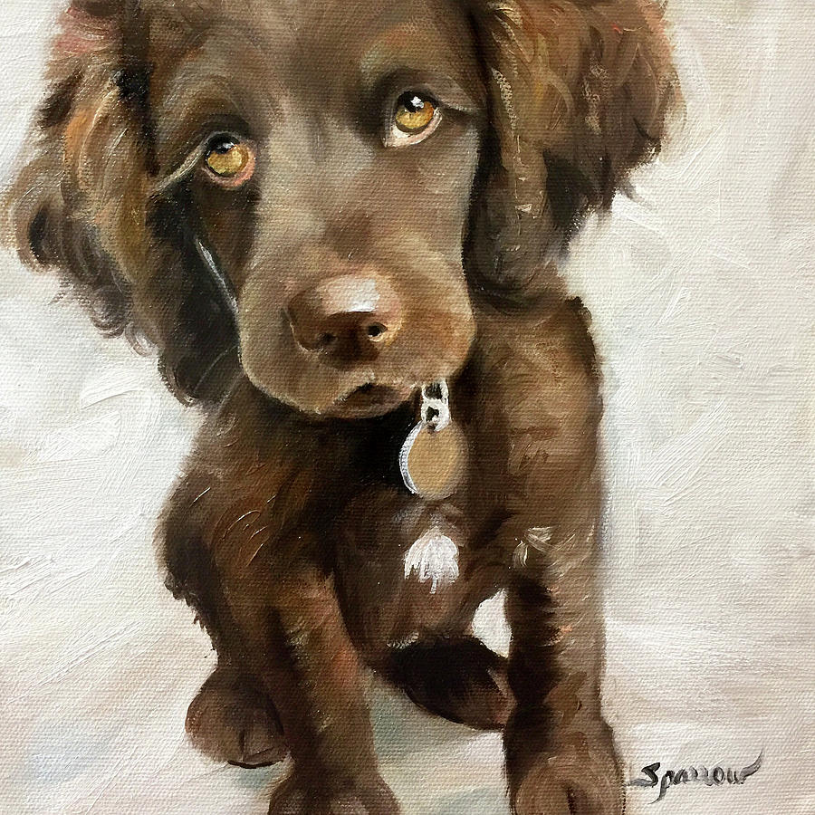 Boykin Spaniel Painting - They Call It Puppy Love by Mary Sparrow