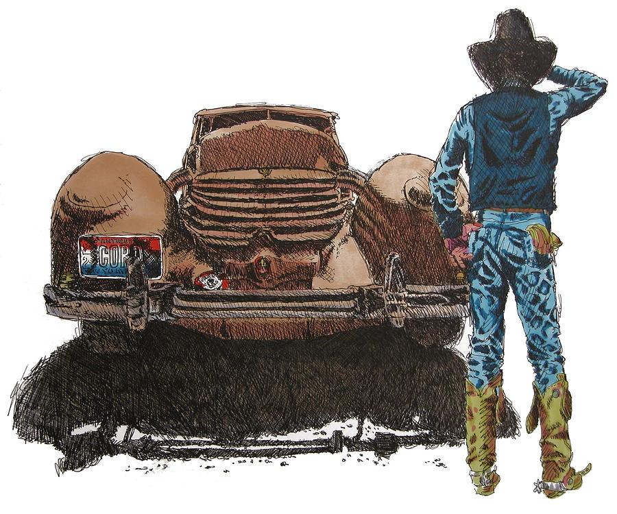Cowboy Painting - They Dont Mae em Like They Use To. by Martin Goldman
