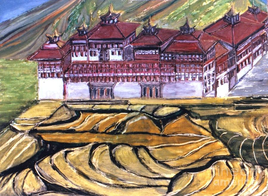 Bhutan Painting - Thimpu Dzong by Duygu Kivanc