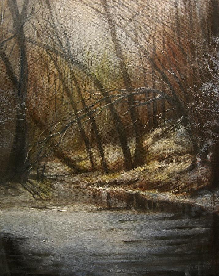 Forest Stream Painting - Thin Ice by Tom Shropshire