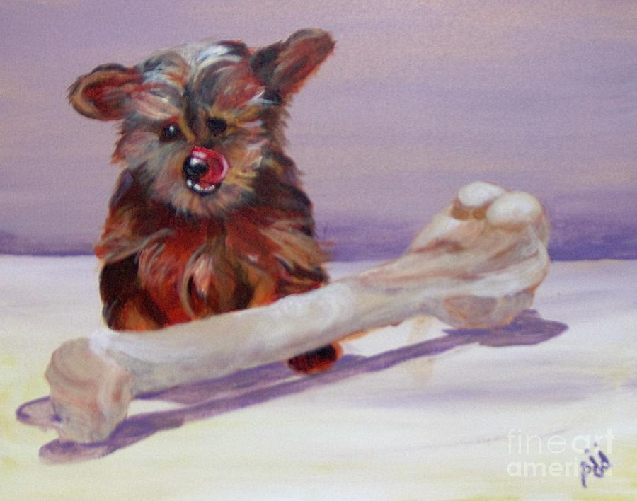Puppy Painting - Think Big by Saundra Johnson