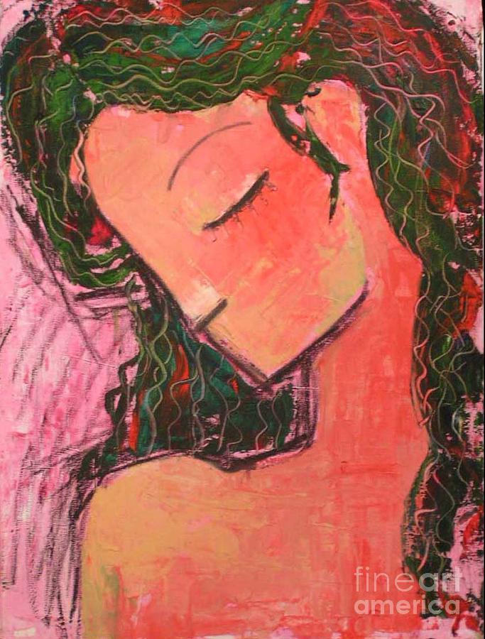 Woman Painting - Thinkful Angel by Azadeh Amiri