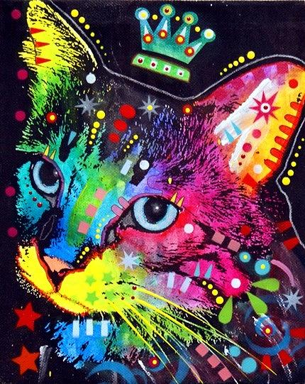 Thinking Cat Crowned Painting by Dean Russo