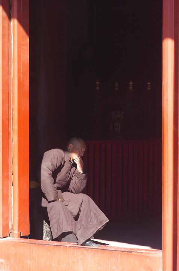 China Photograph - Thinking Monk by Sebastian Musial