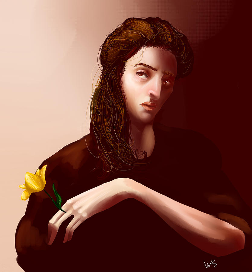 Portrait Digital Art - Thinking Of Yellow Tulips by Willow Schafer