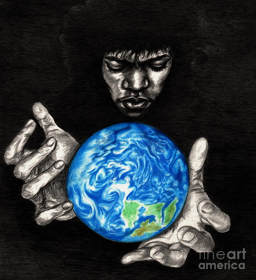Hendrix Drawing - Third Stone From The Sun by Kathleen Kelly Thompson