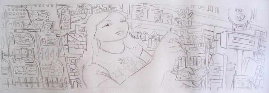 Store Drawing - Third Trolley Mural Cashier Sketch by Alexandru Sacui