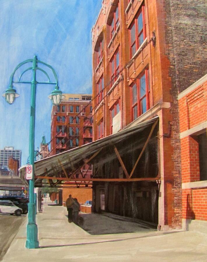 Milwaukee Mixed Media - Third Ward - Broadway Awning by Anita Burgermeister
