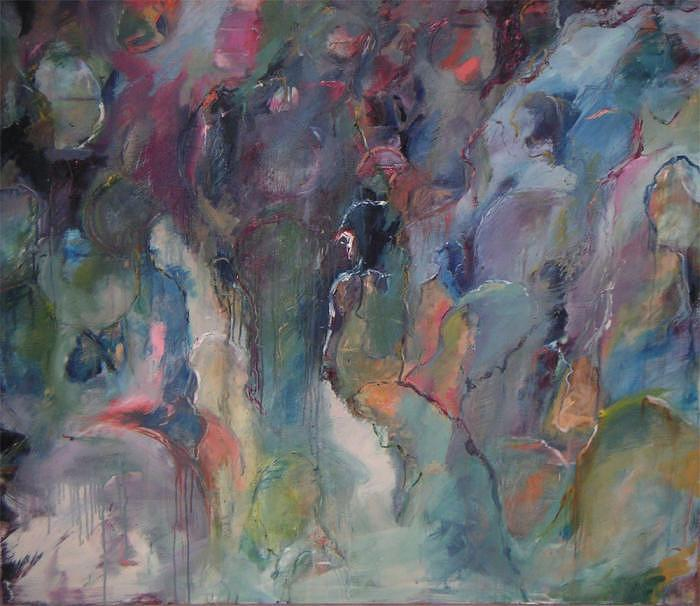 Abstract Painting - Thirsty Fish by Leela Logan