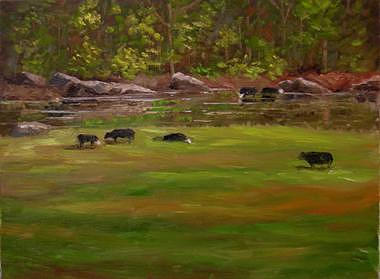 Cows Painting - Thirsty Grazers by Pat Aube Gray