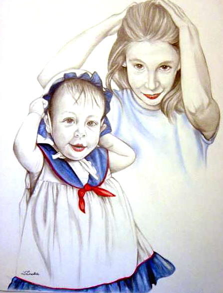 Portrait Commission Drawing - Thirteen Months Thirteen Years by L Lauter