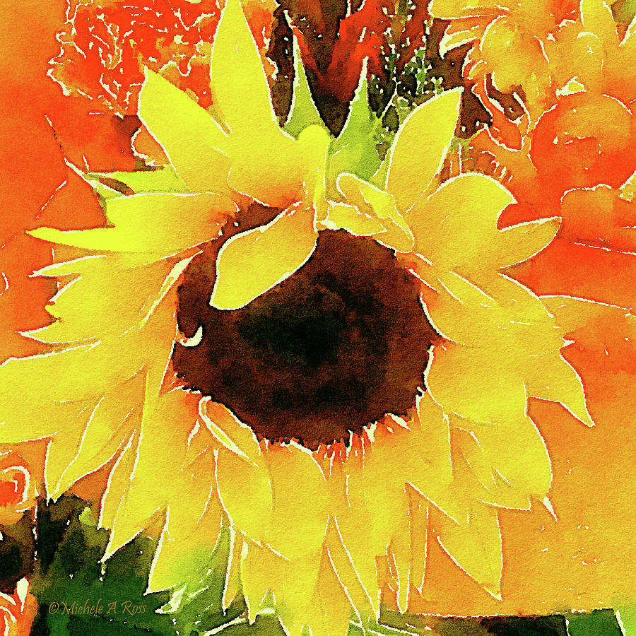 Sunflower Painting - This Aint No Mellow Yellow by Michele Ross