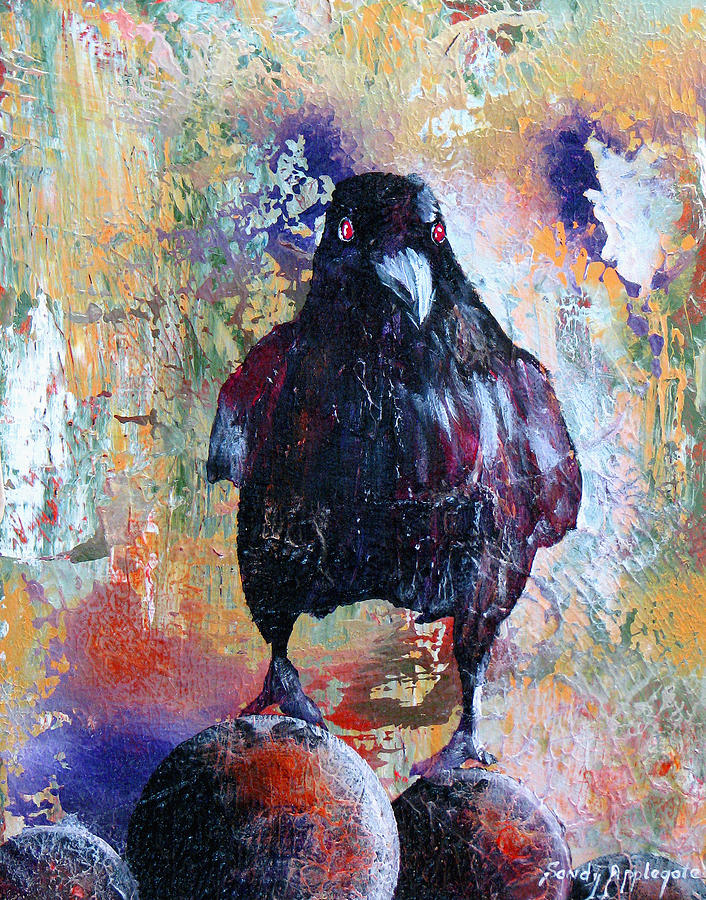 Raven Painting - This Ebony  Bird by Sandy Applegate