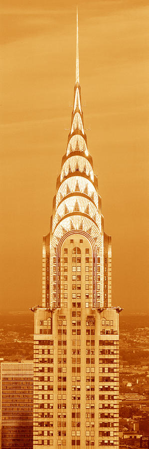 Color Image Photograph - Chrysler Building at sunset by Panoramic Images