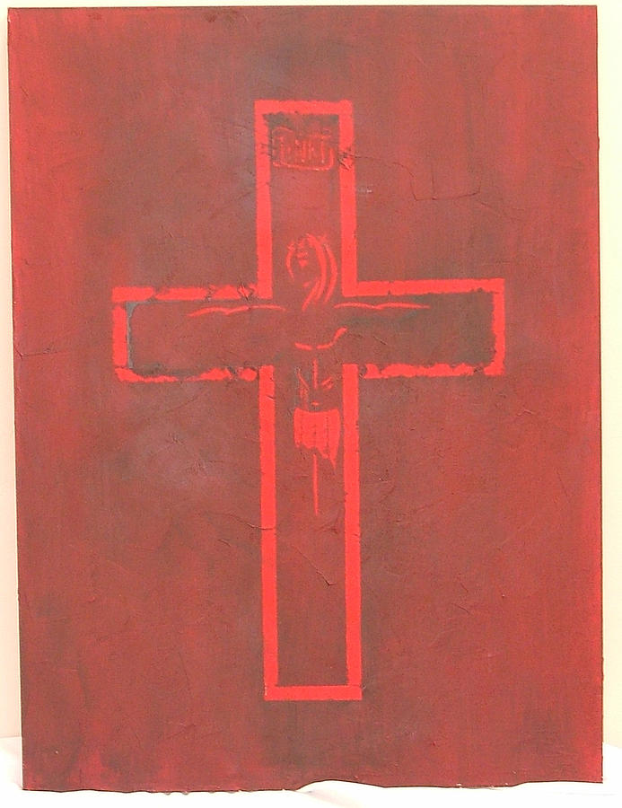 Crucifix Painting - This Is My Blood by Donielle Boal