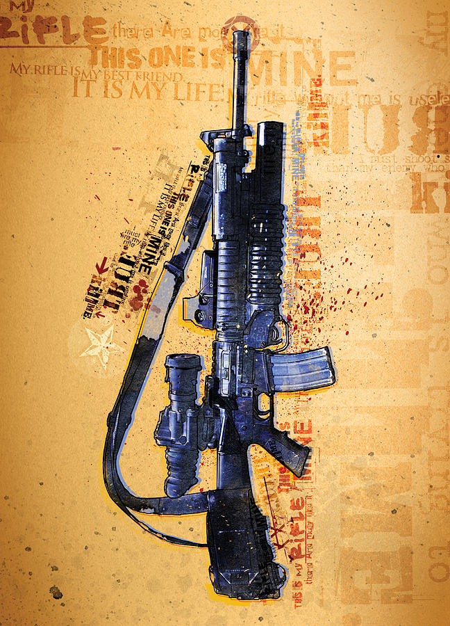 War Drawing - This Is My Rifle Riflemans Creed by Jeff Steed