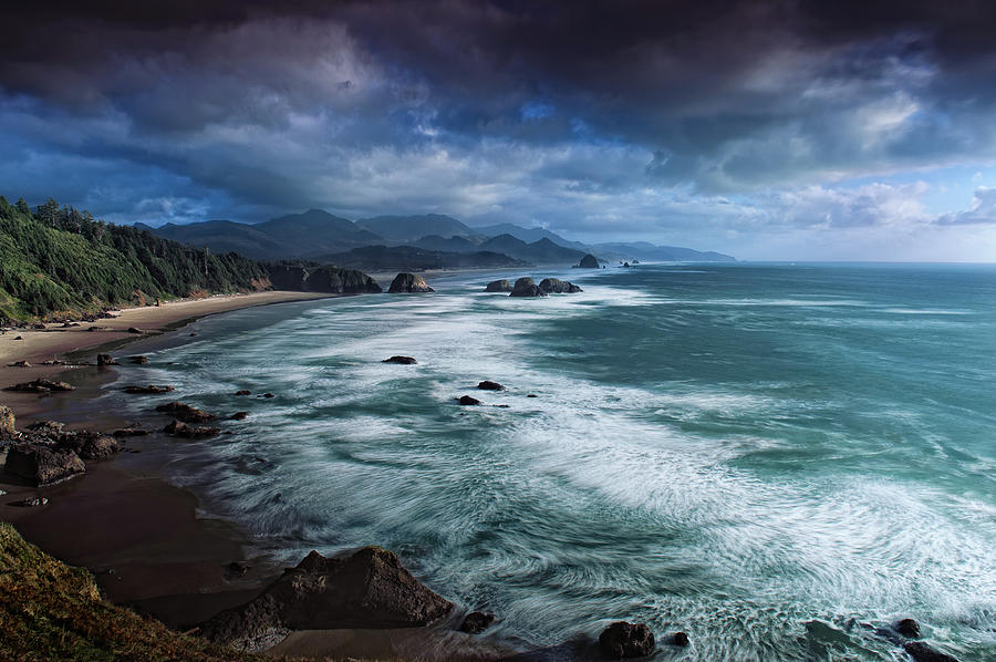 Cannon Beach Photograph - This Is Oregon State No.16 - Cannon Beach Waves by Paul W Sharpe Aka Wizard of Wonders