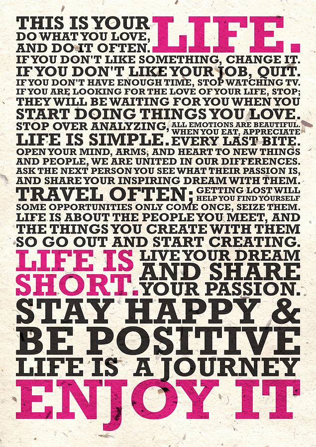 Corporate Startup Digital Art   This Is Your Life Do What You Love  Inspirational Quotes Poster