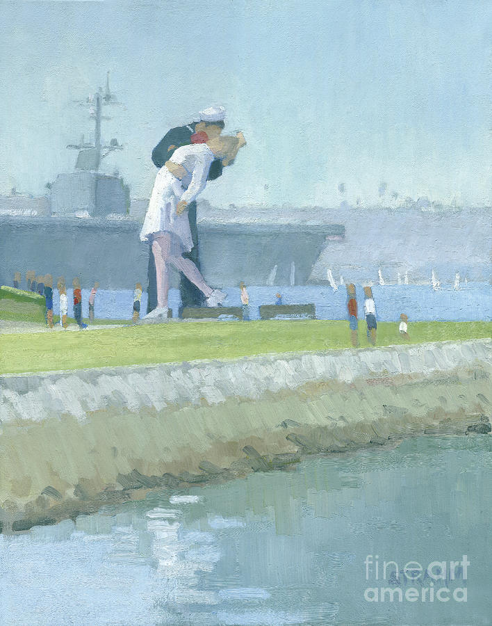 The Kiss Painting - This Kiss Unconditional Surrender San Diego by Paul Strahm
