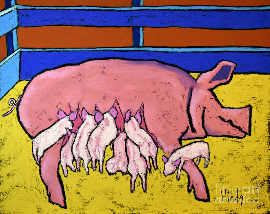 Pigs Painting - This Little Piggie by David Hinds