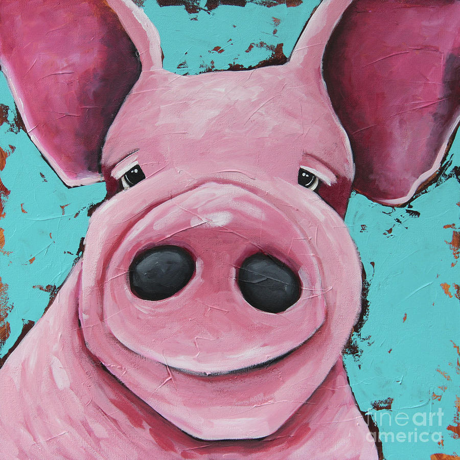 Pig Painting - This Little Piggie by Lucia Stewart