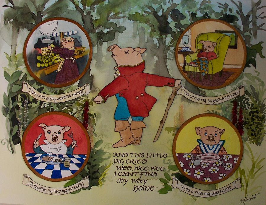 Nursery Rhyme Painting - This Little Piggy by Victoria Heryet