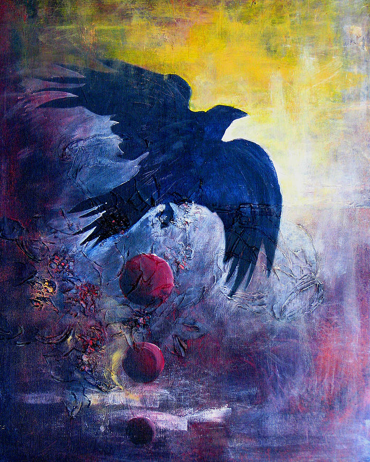 Raven Painting - This Mystery Explore by Sandy Applegate