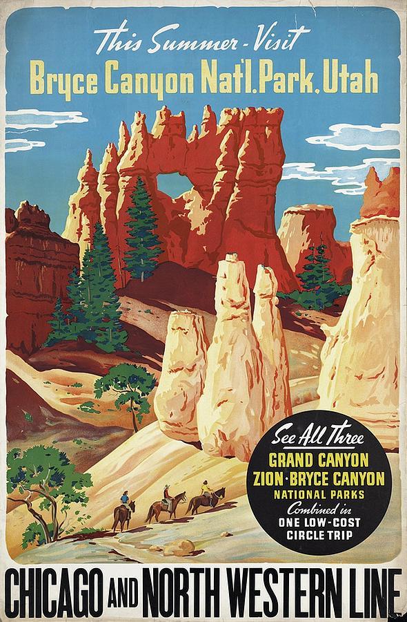 This Summer - Visit Bryce Canyon National Par, Utah, Usa - Retro Travel Poster - Vintage Poster Mixed Media